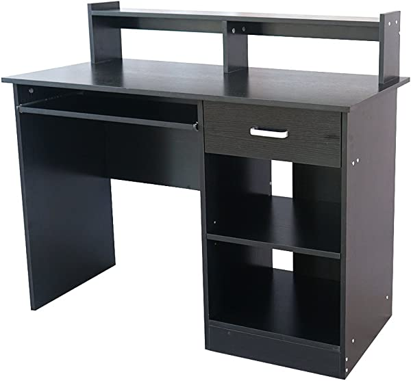 Home Office Computer Desk With Keyboard Tray Drawer Two Layer Shelves Study Workstation 43 3 X 19 7 X 37 4 Black