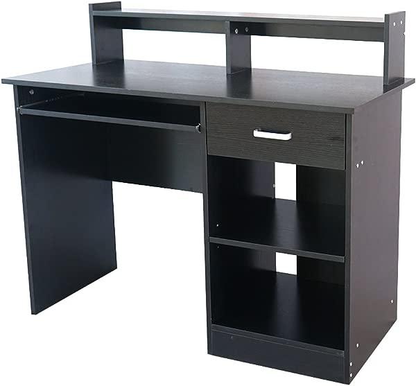家用办公电脑桌带键盘托盘抽屉两层架子书房工作站 43 3X19 7X37 4 黑色