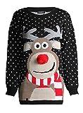 ZEE FASHION Unisex Weihnachtspullover Rudolph Drucken 3D Nase Pom