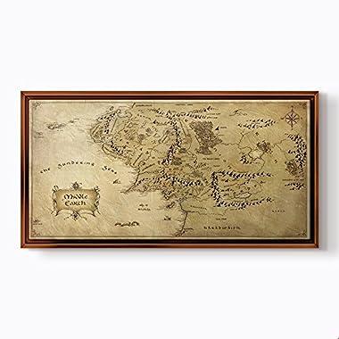 PlusCanvas - Middle Earth - 120 x 60cm (48  x 24 ) Light Brown Framed Print