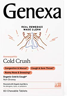 Genexa Cold Crush - 60 Tablets | Certified Organic & Non-GMO, Physician Formulated, Homeopathic | Cough & C...