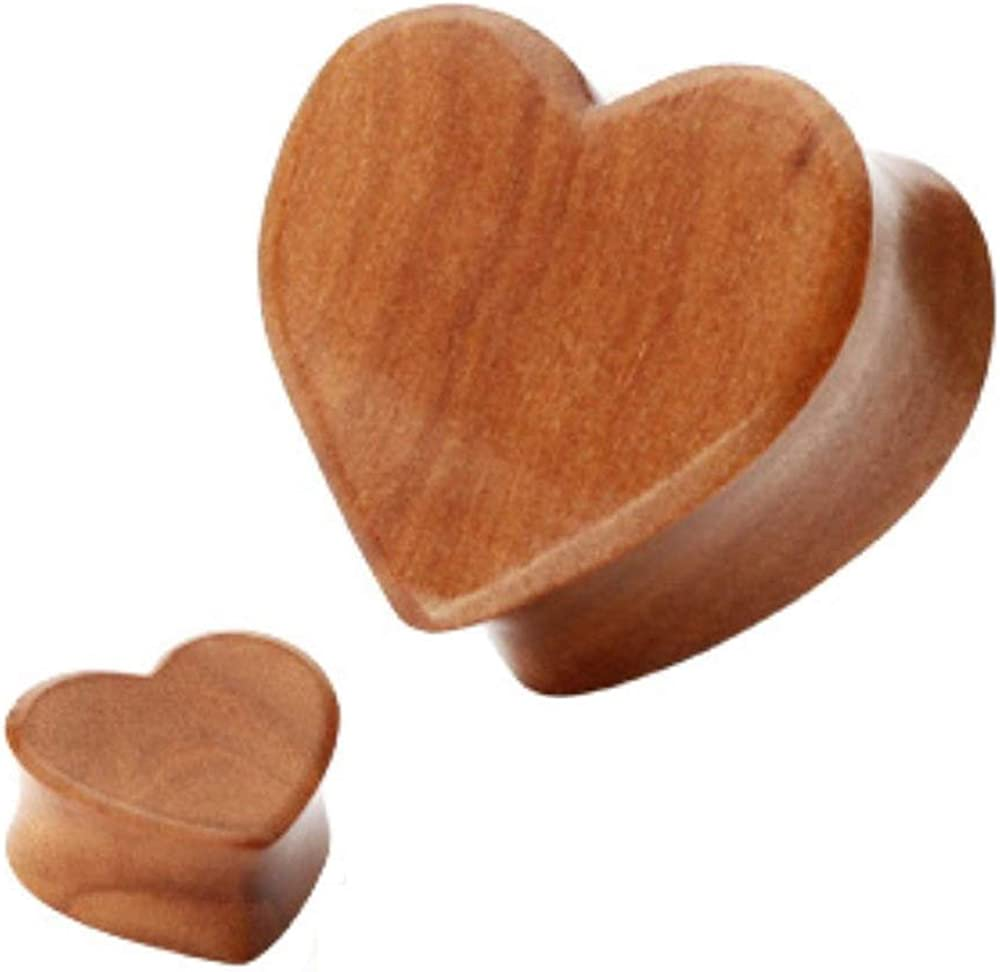 Covet Jewelry Heart Shape Organic Wood Flared Double Red List price New arrival Cherry