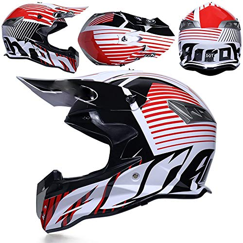 LOOSE Adultos MX ATV Dirt Bike Motocross D.O.T Gafas certificadas Guantes Máscara Gear Combo Off Road Motocross Casco (Juego de 4),S