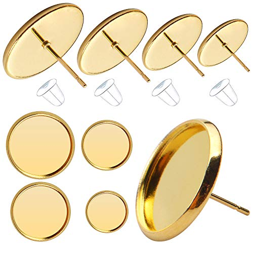 40pcs 4 Size(8mm/10mm/12mm/14mm) Earring Cabochon Setting Post Tray Round Stainless Steel Stud Earring and 40pcs Bullet Earring Backs for DIY Jewelry Making,Gold