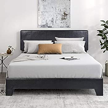 SHA CERLIN Queen Size Platform Bed Frame with Headboard and Wood Slats Faux Leather Upholstered Mattress Foundation with Metal Legs No Box Spring Needed Black