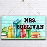 MUPIANLX Personalized Back to School Sign, Teacher Sign, & Customized Gift for Kids-Decor for Girls, Classroom Hanging Sign, School Books, Gift for Teacher, 5 x 10 inches Wood Sign