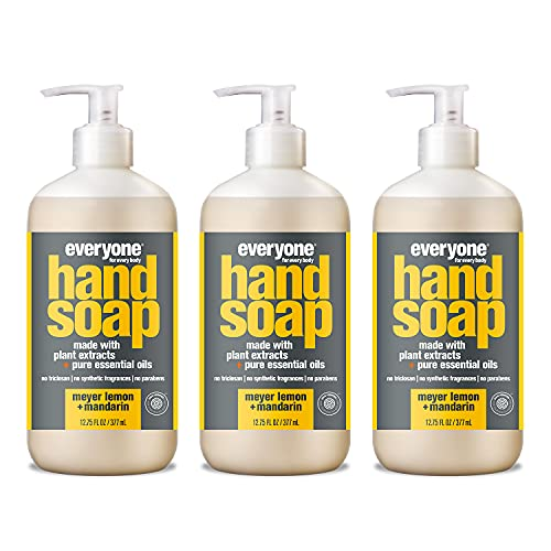 Everyone Liquid Hand Soap, 12.75 Ounce (Pack of 3), Meyer Lemon and Mandarin, Plant-Based Cleanser with Pure Essential Oils (Packaging May Vary)