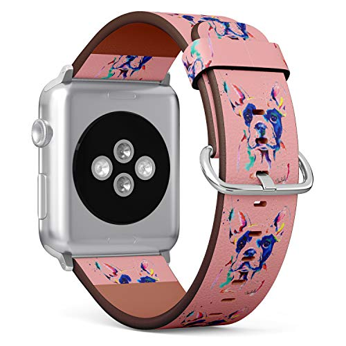 S-Type iWatch Leather Strap Printing Replacement Wristbands Compatible with Apple Watch 4/3/2/1 Sport Series (38mm) - Hippie Watercolor Boston Terrier