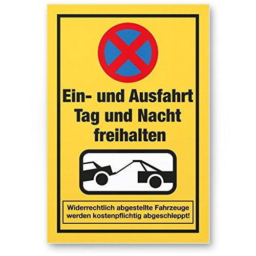 Komma Security Einfahrt freihalten Kunststoff Schild 30 x 20 cm Ein- Ausfahrt Tag Nacht freihalten - auch gegenüber Hinweisschild Einfahrt Parken verboten - Parkverbot Halteverbot