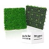 Artificial Grass Turf Interlocking GrassTiles, Multipurpose Soft Grass Rug, 12''x12'' Self-draining Mat for Outdoor Patio, Balcony, Garden, Dog Potty-Pads or Indoor Flooring Décor (9 Titles (9 Sq Ft))