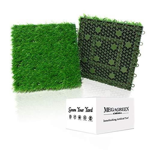Kunstrasen ineinandergreifende Grasfliesen, Mehrzweck-Teppich, 30,5 x cm, selbstentleerende Matte für Außenbereich, Terrasse, Balkon, Garten, Hunde-Töpfchen-Pads oder Innenboden-Dekor (9 Titel m²)