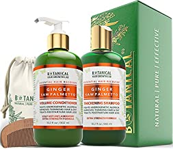 BOTANICAL HAIR GROWTH LAB - Shampoo and Conditioner Gift Set - Ginger Saw Palmetto - Essential Hair Recovery - Anti-Inflammatory/Extra Strength - Hair Loss Prevention Alopecia Postpartum DHT Blocker