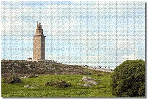 Puzzle  España Torre de Hércules La Coruña Rompecabezas para Adultos Niños 1000 Piezas Juego de Rompecabezas de Madera para Regalos Decoración del hogar
