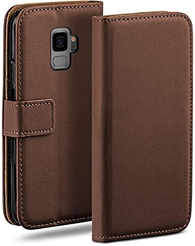 moex Klapphülle für Samsung Galaxy S9 Hülle klappbar, Handyhülle mit Kartenfach, 360 Grad Schutzhülle zum klappen, Flip Hülle Book Cover, Vegan Leder Handytasche, Dunkelbraun