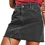 Holywin Lässige A-Line Denim-Distressed, Figurbetonter Jeanskleid mit hoher Taille für Damen