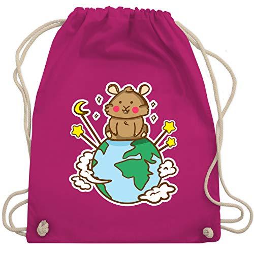 Tiermotive Kind - Hamster Weltkugel - Unisize - Fuchsia - hamster bag - WM110 - Turnbeutel und Stoffbeutel aus Baumwolle