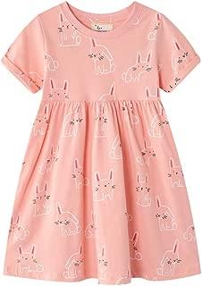 FreeLu Girls Short Sleeve Dress Cotton Casual Cartoon Dresses Size 2-8 Years
