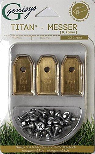 genisys !Titan! 30 Messer (Ti3=0,75mm) und Schrauben für Husqvarna Automower®, Gardena R40Li / R70Li