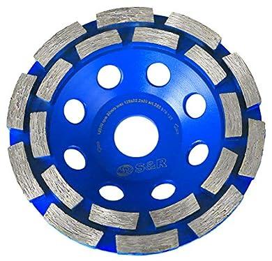 Foto di S&R Mola a Tazza Diamantata/Disco Abrasivo Diamantato 125 per Calcestruzzo, Pietra, Muratura, Mattoni. Taglio a 2 file. Disco Universale