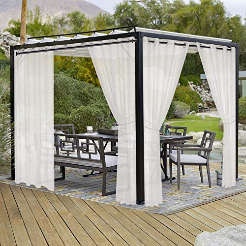 LORDTEX Burlap Linen Look Outdoor Curtains for Patio - 2 Panels Waterproof Sheer Curtains for Pergola, Porch, Cabana and Gazebo Grommet Indoor/Outdoor Voile Sheer Drapes (52 x 108 inch, Ivory)