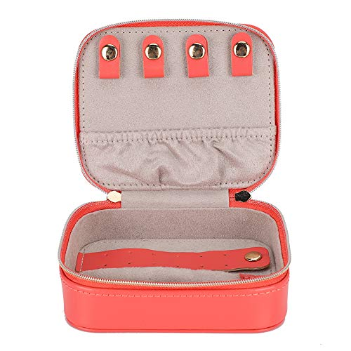 GSX Jewellery Box Jewelry Storage Case PU Leather Portable Earrings Ring Jewelry Storage Rack Small Jewelry Storage Box Case Coral Orange