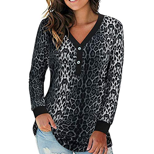 Camiseta de manga larga para mujer, cuello en V con botones y estampado de leopardo de manga larga, blusa estampada para mujer, ideal como regalo de Pascua de San Patricio, color negro y XL