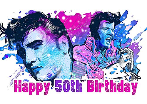 Cakecery Elvis Presley Edible Cake Image Topper Personalized Birthday Cake Banner 1/4 Sheet