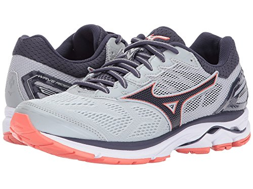 Mizuno Womens Running Shoes - Women's Wave Rider 21 Running Shoe - Wide - 410976, Size, High-Rise-Silver (9K73)