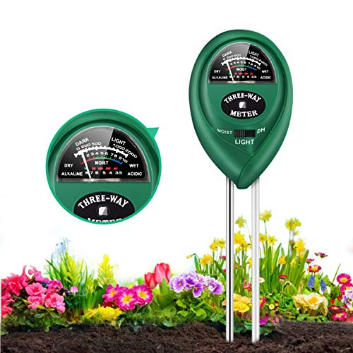 Soil PH Meter, 3 in 1 Soil Test Kits with Moisture, Light and PH Tester, Plant Water Meter for Plant,Vegetables,Garden, Farm, Lawn, Indoor & Outdoor Plant Care Soil Tester(Green)
