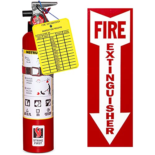 (Lot of 2) - 2 1/2 Lb. Strike First Type ABC Dry Chemical Fire Extinguishers, with 2 - Vehicle Brackets and 2 - Inspection Tags and 2 - Signs