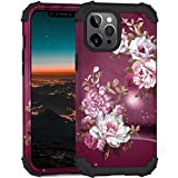 Hocase Compatible with iPhone 12/12 Pro Case, Heavy Duty Shockproof Soft Silicone Rubber Bumpers Hard PC Protective Case for iPhone 12/iPhone 12 Pro (6.1' Display) 2020 - Royal Purple Flowers