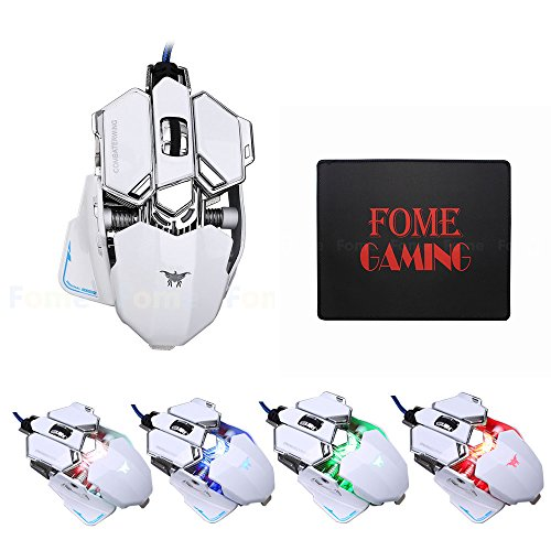 USB Wired Gaming Mouse,FOME GAMING COMBATERWING CW-80 4800 DPI Optical USB Wired Professional Gaming Mouse Programmable 10 Buttons RGB Breathing LED Mice + FOME GAMING Mouse Pad