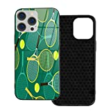Phone Case Compatible with iPhone 12 Pro Max, Tennis Rackets and Balls,Glass Back Cover Soft TPU Anti Scratch Bumper Design Phone Cases 6.7 inch