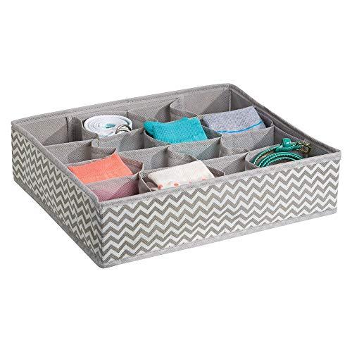 mDesign – Precioso organizador para armario de color gris pardo – Separador de cajones con estampado en zigzag – Organizador de ropa interior
