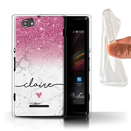 Personalisiert Hülle Für Sony Xperia M/C1905 Handschrift Glitter Ombre Rosa FunkeIn Weißer Marmor Design Transparent Dünn Weich Silikon Gel/TPU Schutz Handyhülle Case