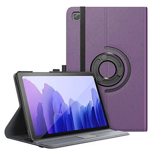 MoKo Hülle Kompatibel mit Samsung Galaxy Tab A7 10.4 Inch Model (SM-T500/505/507), Vollständige Schutzhülle Harte Rückseite 90° Drehbar Ständer Auto Schlaf/Aufwach, Violett