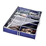 Zipcase Underbed Shoe/Sneaker Organizer for Kids and Adults (12 Pairs) with Ample Space and Stitched Bottom –38 by 23 inch - Under Bed Shoes/Closet Storage Solution