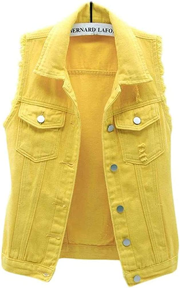 Lazutom Women's Button Up OFFicial Sale Sleeveless Distressed Denim Vest Jean