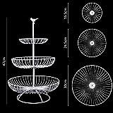 Apark Obst Etagere - 3 Stöckig Obstkorb für Mehr Platz auf der Arbeitsplatte - Metall Obstschale als Dekorativer Hingucker in Ihrer Landhaus-Küche,3 Ablagekörbe:30cm,24.5cm,16.5cm, Höhe:47cm (Weiß) - 2