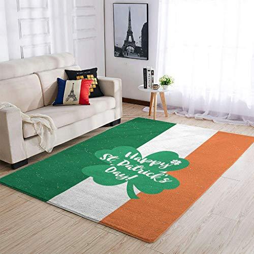 YOUYO Spark Alfombra de trébol de San Patricio Antideslizante – Hermosa alfombra para puerta delantera blanca 91 x 152 cm