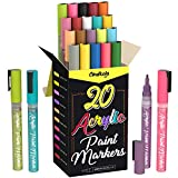 Acrylic Paint Pens for Rock Painting, Stone, Ceramic, Glass, Wood, Canvas - Set of 20 colors, Fine Tip Water...