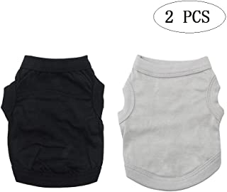 Looching Pack of 2 Cotton Dog T Shirts Summer Clothes Tee Shirts Dogs Costumes Cat Tank Top Vest for Pet Puppy