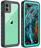 Huakay iPhone 11 Waterproof Case, Full Body 360° Protective Shockproof Dirtproof Sandproof IP68 Phone Case for iPhone 11 (6.1inch)(Blue/Clear)