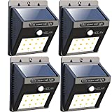 Iextreme 12 LED Solar Lights, Holan Waterproof Motion Sensor Solar Light Outdoor Wall Lights for Garden Patio Step Stair Fence Deck Yard Driveway, 4 Pack ¡