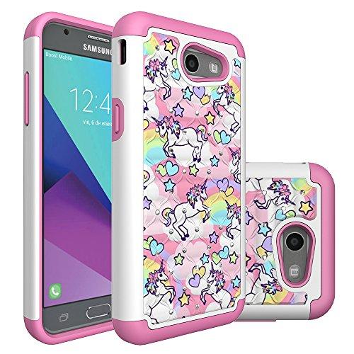 Case for Galaxy J3 2017,Cover for Samsung Galaxy J3, Heavy Duty Shockproof Studded Rhinestone Bling Hybrid Case Silicone Protective Cover for Samsung Galaxy J3 2017 (Rainbow Unicorn)