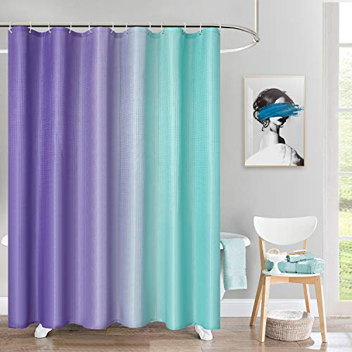 BGment Fabric Ombre Shower Curtain Sets with 12 Hooks for Bathroom Waffle Weave Waterproof Gradient Bath Curtain (72 x 78 inch, Purple and Green)