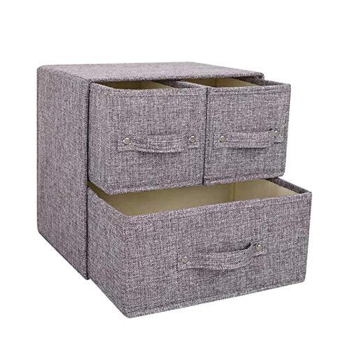 YuuHeeER Cajón de tela para almacenamiento de ropa, sujetadores, ropa interior, color gris, 2 cajones pequeños