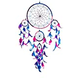 Pink Pineapple Grand Attrape rêve Bleu Royal, Rose, Violet Dreamcatcher à Perles & à Plumes Fait Main - Capteur de Rêves Multicolore, Artisanal - Format Large 22 cm de Diamètre, 60 cm de Longueur