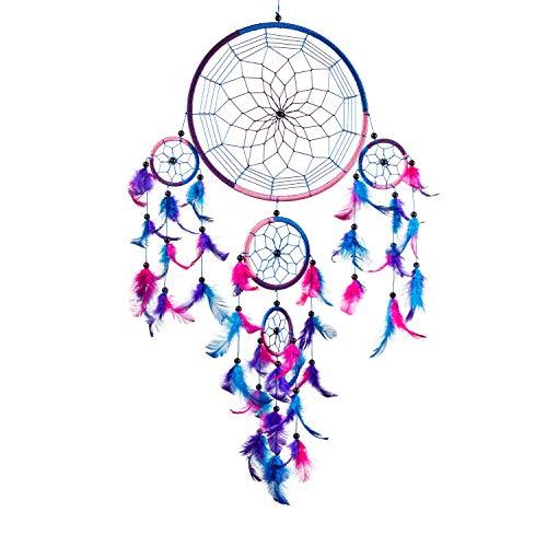 Pink Pineapple Atrapa Sueños Grande Bohemio: Arte de Pared de Dreamcatcher Colgante Ético con Plumas y Cuentas de Color Azul Real, Rosa y Morado con Diseño de Ganchillo Tradicional (22 x 60 cm)