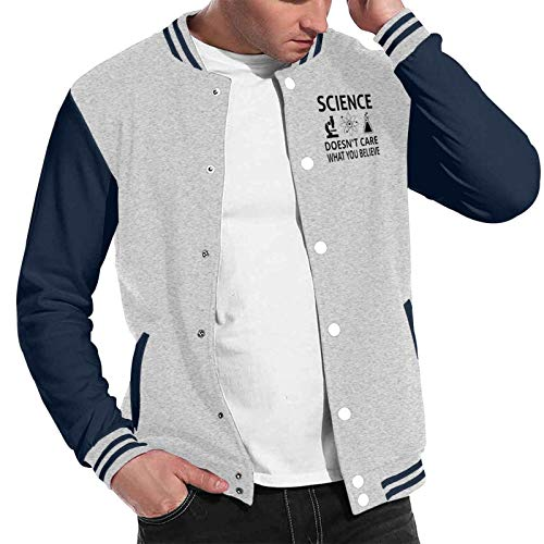 Science Doesn¡¯t Care What You Baseball Jacket Uniform Sport Coat for Men Women Casual Sweatshirt Gray